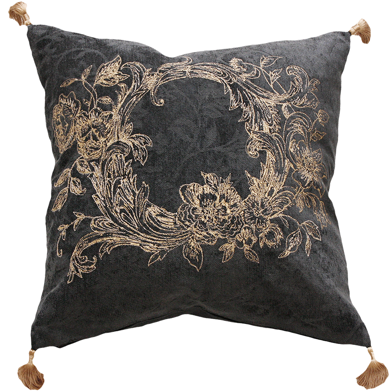 Aletta Claudia Lead/Gold Feather Cushion