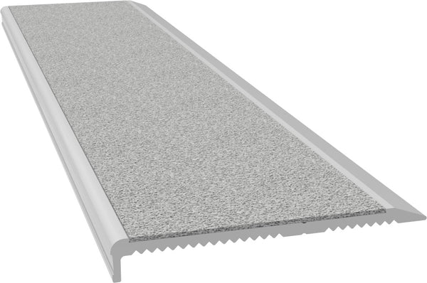 Aluminium Stair Nosing - M Series CLEAR anodised with LIGHT GREY external rated insert - Safety Stride