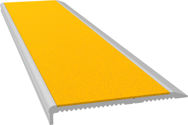 Aluminium Stair Nosing - M Series CLEAR anodised with YELLOW external rated insert - Safety Stride