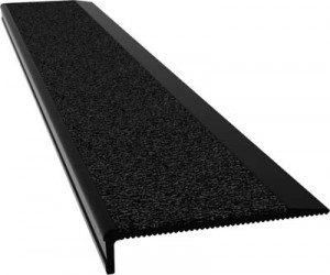 Aluminium Stair Nosing - J Series BLACK anodised with BLACK external rated insert - Safety Stride