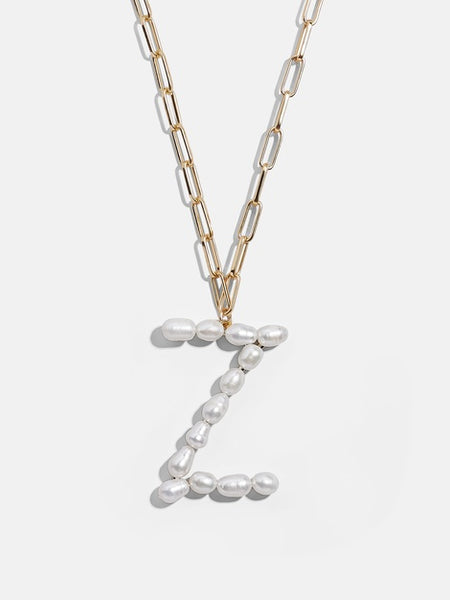 LUNA CHIAO Fresh Water PEARL INITIAL PENDANT Curb Thick Chain Link Necklace for Women