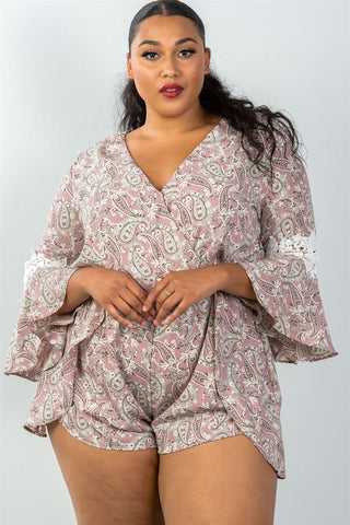Ladies fashion plus size 3/4 bell sleeves floral crochet sleeves surplice romper