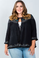 Ladies fashion plus size embroidery flower tassel cardigan