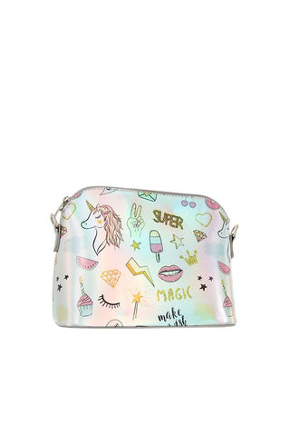 Magical print metallic dome crossbody bag