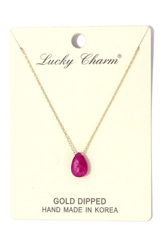 Tear drop charm necklace
