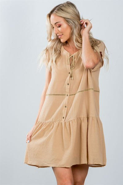 Ladies fashion taupe ladder stitch trim peasant mini dress