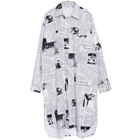Toriko Newspaper Print Shirt Dress