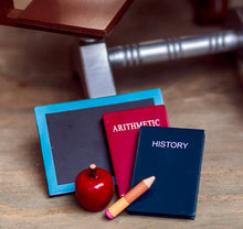 2 Wooden Books, Pencil, Apple &  Chalkboard Prop Set