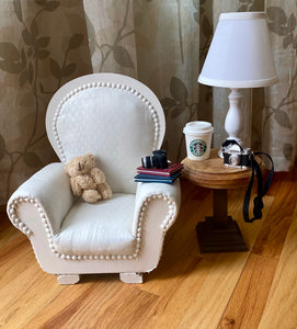 Vintage Ivory Fabric Painted Chair