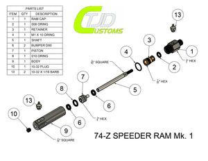 TJD Customs Autococker 74Z Speeder Ram Matte Black