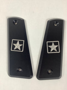 TJD Customs Aluminum A.S.T 45° Army Grip Panels Matte Black 1911