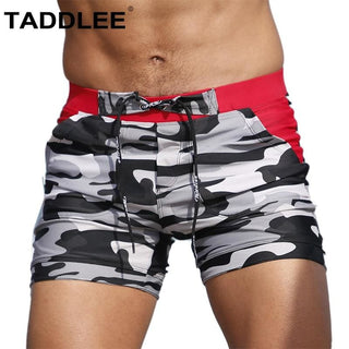 Grey Camo - Long-Trunks Active, Grey, Pattern, Red, Swimwear FOSTTER - €34.49