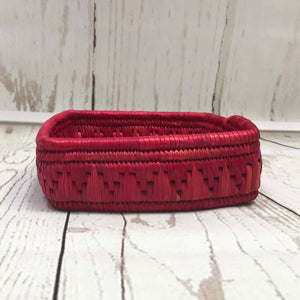 Handwoven Basket - Pink Square