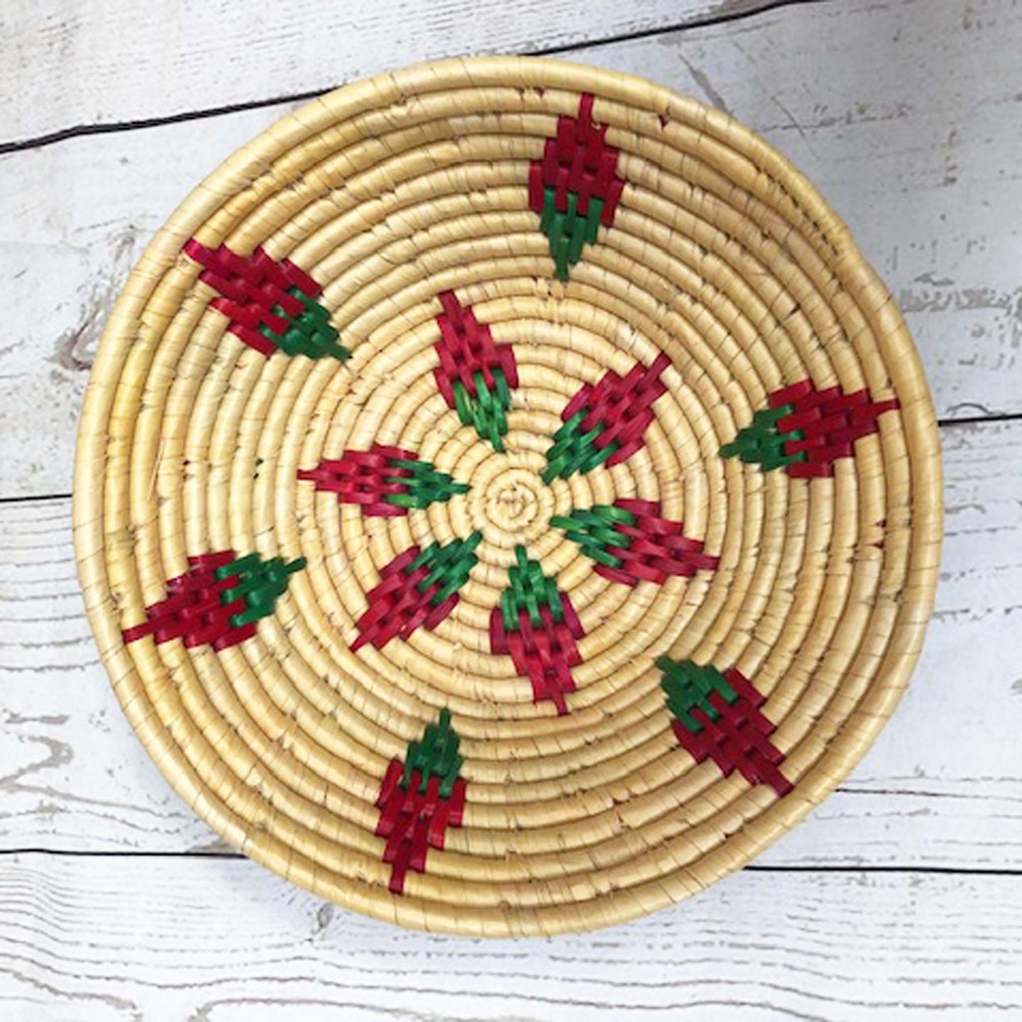 Handwoven Basket - Natural / Pink Diamond