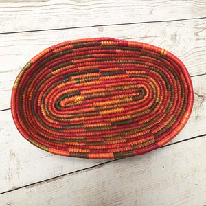 Handwoven Basket - Coral Oval