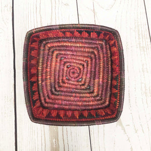 Handwoven Basket - Ruby Square