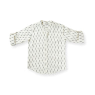 Ikat Rain Collarless Shirt - Orche White