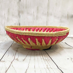 Handwoven Basket - Natural / Pink
