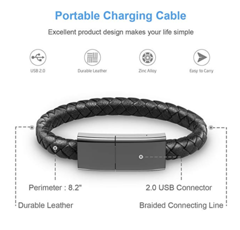 Leather Bracelet & Phone Charger