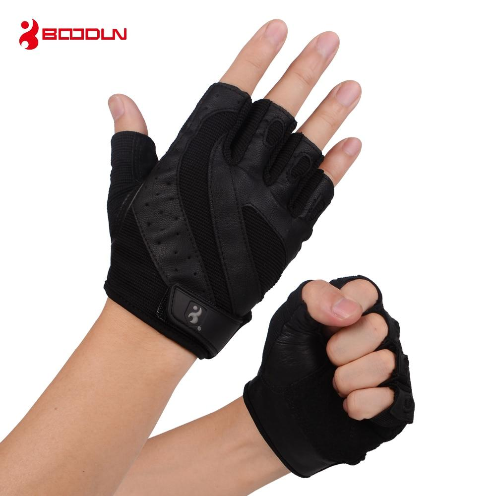 Boodun Genuine Leather Gym Weight Lifting Gloves Men Body Building Training Sports Fitness Exercise Pig Black Gloves Male