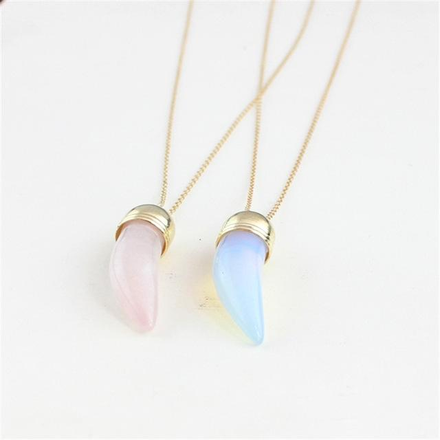Fashion the new free shipping 2015 luxurious long moonlight stone, crystal powder natural stone necklace