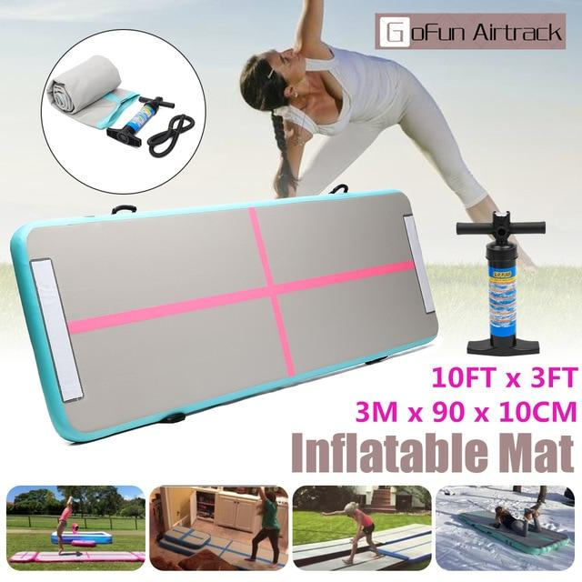 GoFun 300x90x10cm AirTrack Inflatable Air Track Tumbling Floor Home Gymnastics Yoga Mat GYM with Manual pump