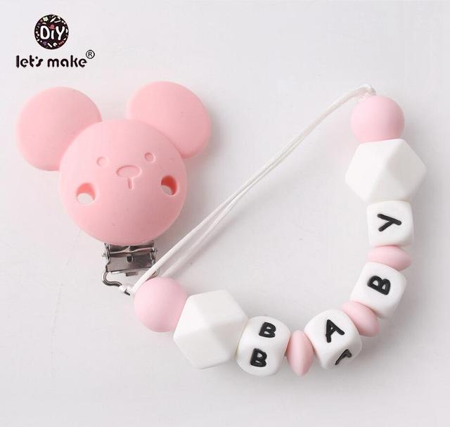 Let's make 1pc Cartoon Bear Private Custom Personalise Baby Name Pacifier Clips Chain Teething BPA Free Silicone Abacus Dummy