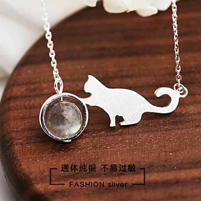The high quality 925 Sterling Silver cartoon animal cat Necklace girls cute natural moonlight stone Moonstone Pendant with chain