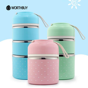 WORTHBUY Drop Shipping Japanese Thermal Lunch Box For Kids Portable Food Container Kitchen Leakproof Stainless Steel Bento Box