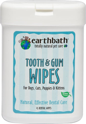 Earthbath Specialty Tooth & Gum Wipes for Dogs & Cats, 25 count