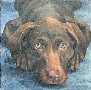 "Custom Pet Portrait  12"" x 12"" (Acrylic on Canvas) By Lillian"