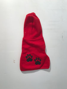 Red Hoodie with Paw Prints