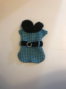 Blue Checkered Coat with Rhinestone Buckle*.