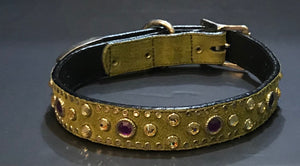 Olive Suede Crystal Collar