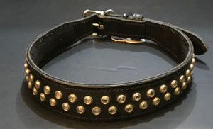 Black Leather Collar with Silver Rhinestones