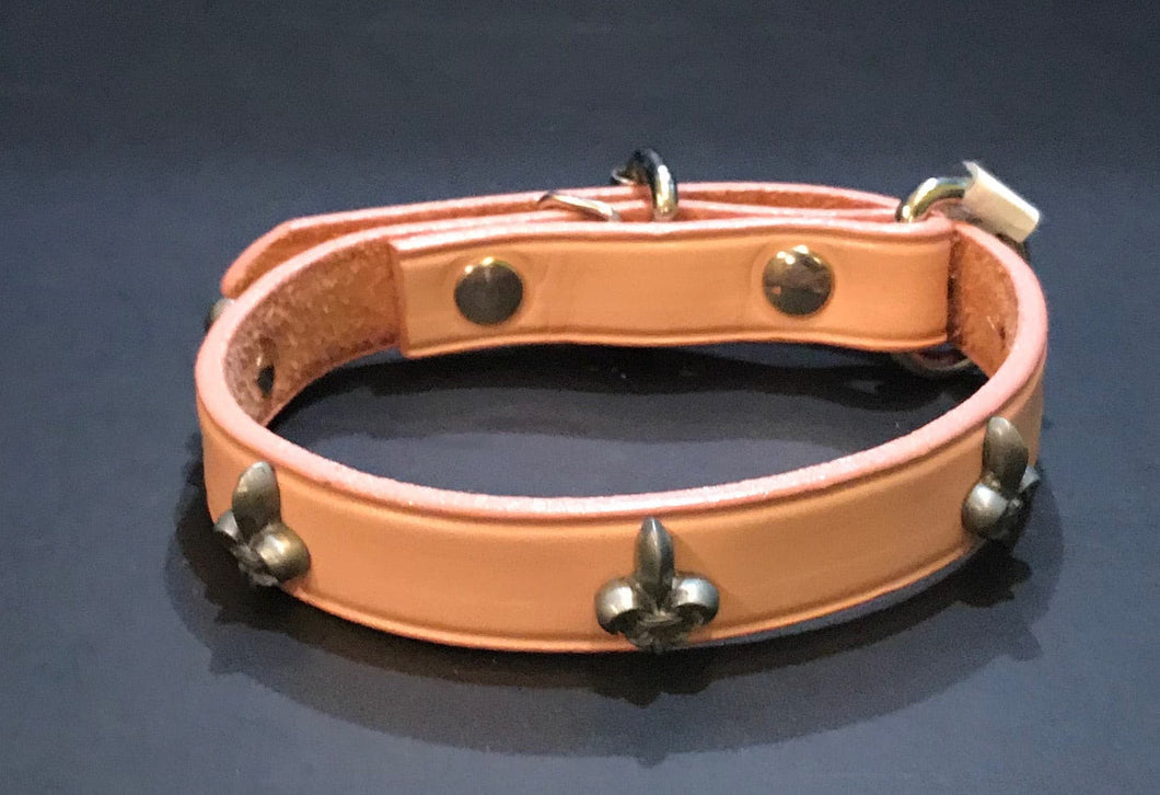 Leather Fleur De Lis Collar
