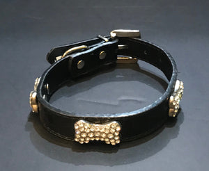 Black Crock Skin Rhinestone Bone Collar