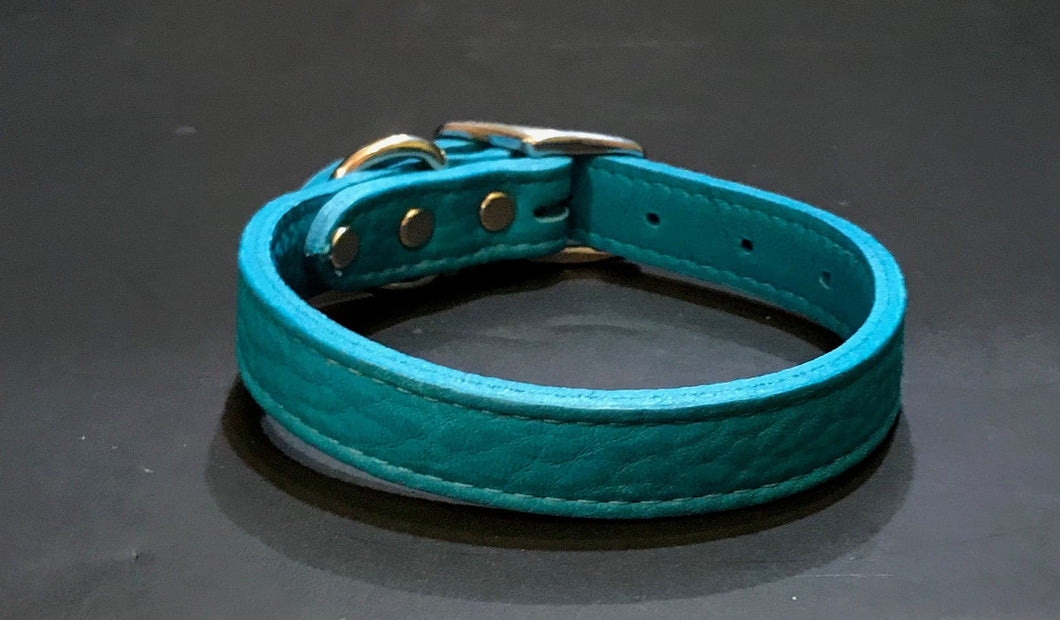 Teal Soft Leather Collar*.