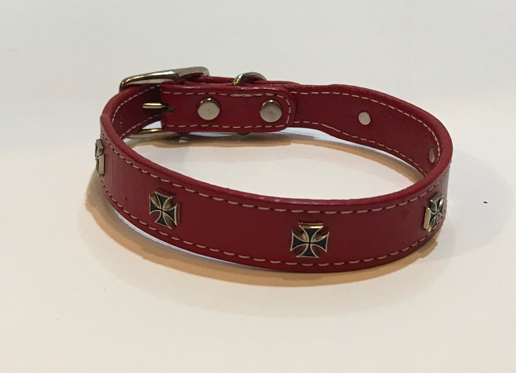 Leather Collar with Cross