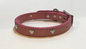 Suede Leather Collar with Hearts