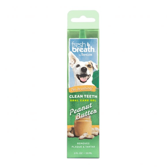 Fresh Breath by TropiClean No Brushing Peanut Butter Flavor Clean Teeth Dental & Oral Care Gel for Dogs, 2oz.