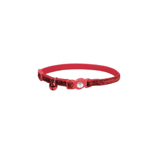 Jeweled Buckle Adjustable Breakaway Cat Collar with Glitter Overlay Red Color 8-12 Inch