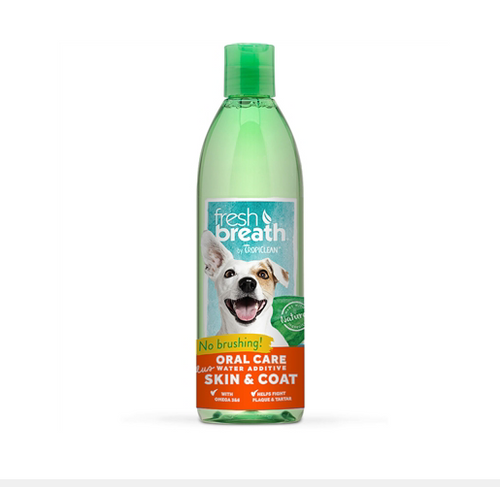 TropiClean Water Additive Plus Skin & Coat - 16 oz. Bottle.