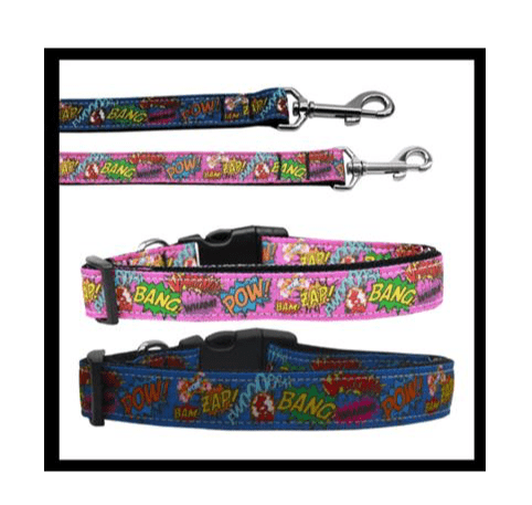 Superhero Sound Effects Nylon Dog Collars and Leads.