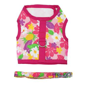 Fabric Dog Harness with Leash - Pink Hawaiian Floral