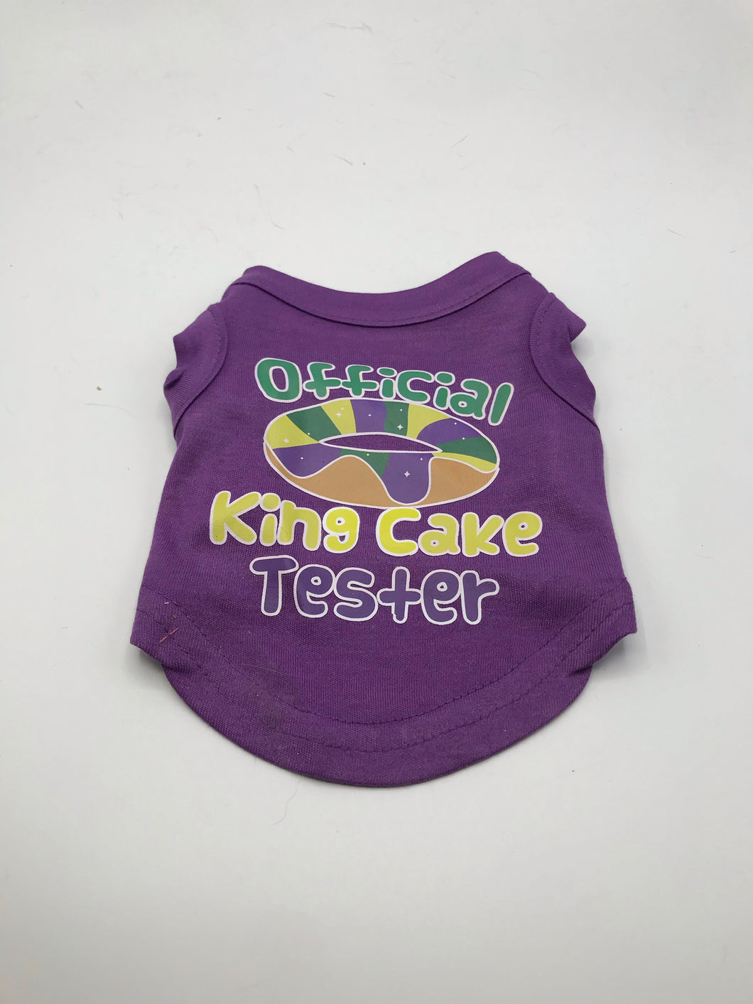 King Cake Taster Screen Print Dog Shirt.