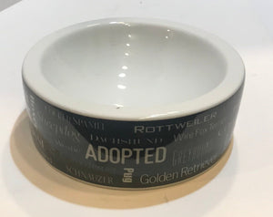 Words in White Dog Bowl.