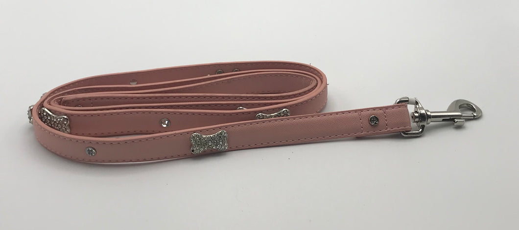 Pink Leather Bone Lead 5' x 3/4