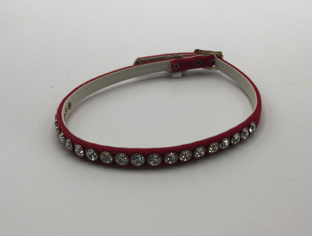 Red jeweled velvet collar