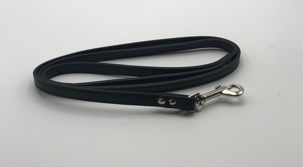 Plain Black Leather Lead 4'.
